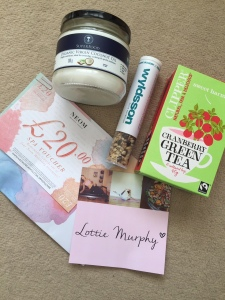 Goodie bag from Neals Yard, Clipper, Wyldsson and Neom Organics